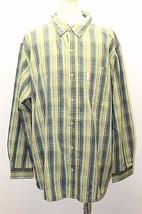 Columbia Men Long Sleeve Shirt Green Plaid XXL Cowboy Western Cotton Rodeo Polo - $32.68