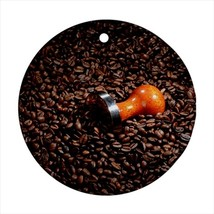 Coffee Bean Roasting Round Porcelain Ornament - Holiday Seasons - $7.71
