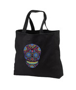 Neon Sugar Skull New Black Tote Bag Events Books Gifts Day of the Dead - $17.99