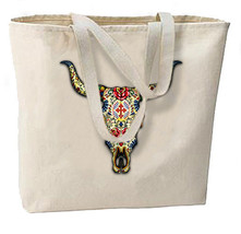 Sugar Skull Steer New Large Canvas Tote Bag Day of the Dead - $19.99