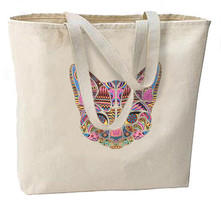Cat Mosaic New Large Canvas Tote Bag Gifts Events Art - $19.99