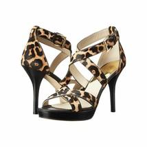 New! MICHAEL KORS ~Size 9.5~ Evie Calf-hair Leopard Open-toed Heels Sand... - $109.99