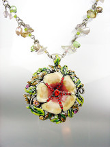 GORGEOUS Multicolor Lacquer Enamel Crystals Flower Natural Pearls Neckla... - €22,13 EUR