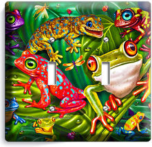 CUTE EXOTIC RAINFOREST TROPICAL TREE FROGS DOUBLE LIGHT SWITCH WALL PLAT... - $11.99