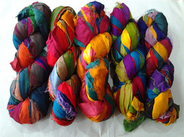 15 Skein Silk Ribbons Multicolored Recycled craft Yarn Project - $43.55