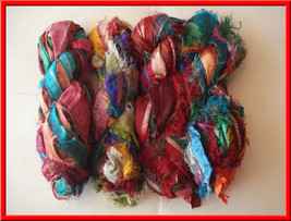 50 SKEIN RECYCLED SARI SILK RIBBON YARN CRAFT PROJECT - $135.62