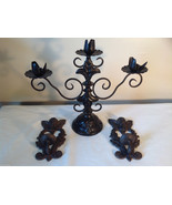 3 pc lot - Large Candle Holder, 2 Small Wall Sconces Vintage-look - $39.59