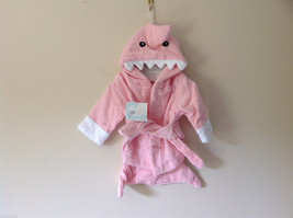 Baby Aspen Pink Hooded Shark Robe with Belt NEW 0-6 months