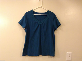 Croft & Barrow Woman Stretch Dark Turquoise Blouse T-shirt Top V-Neck, Size 1X