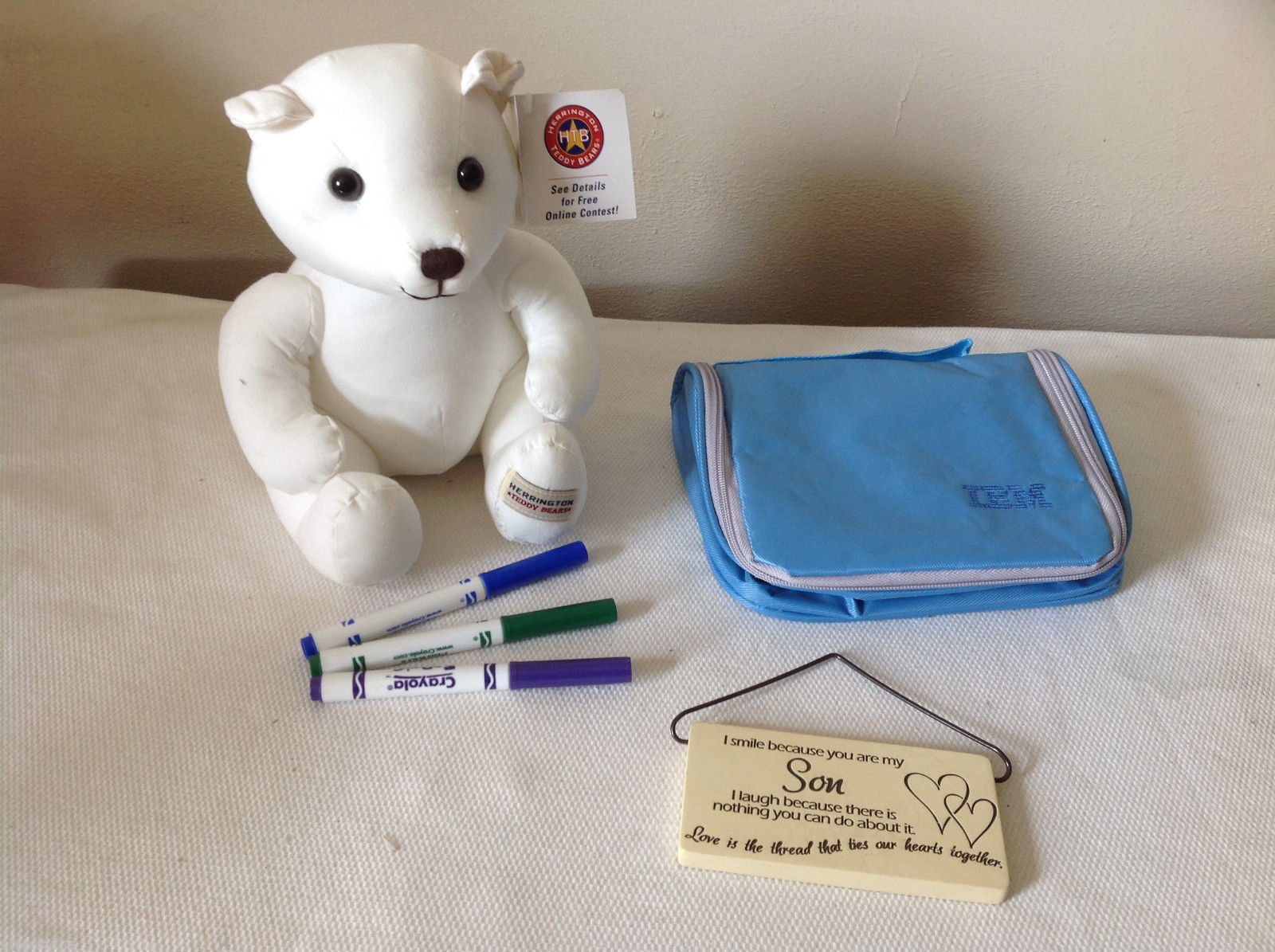 3 pc mixed lot - Teddy Bear with markers, IBM bag, Son Wall Plaque