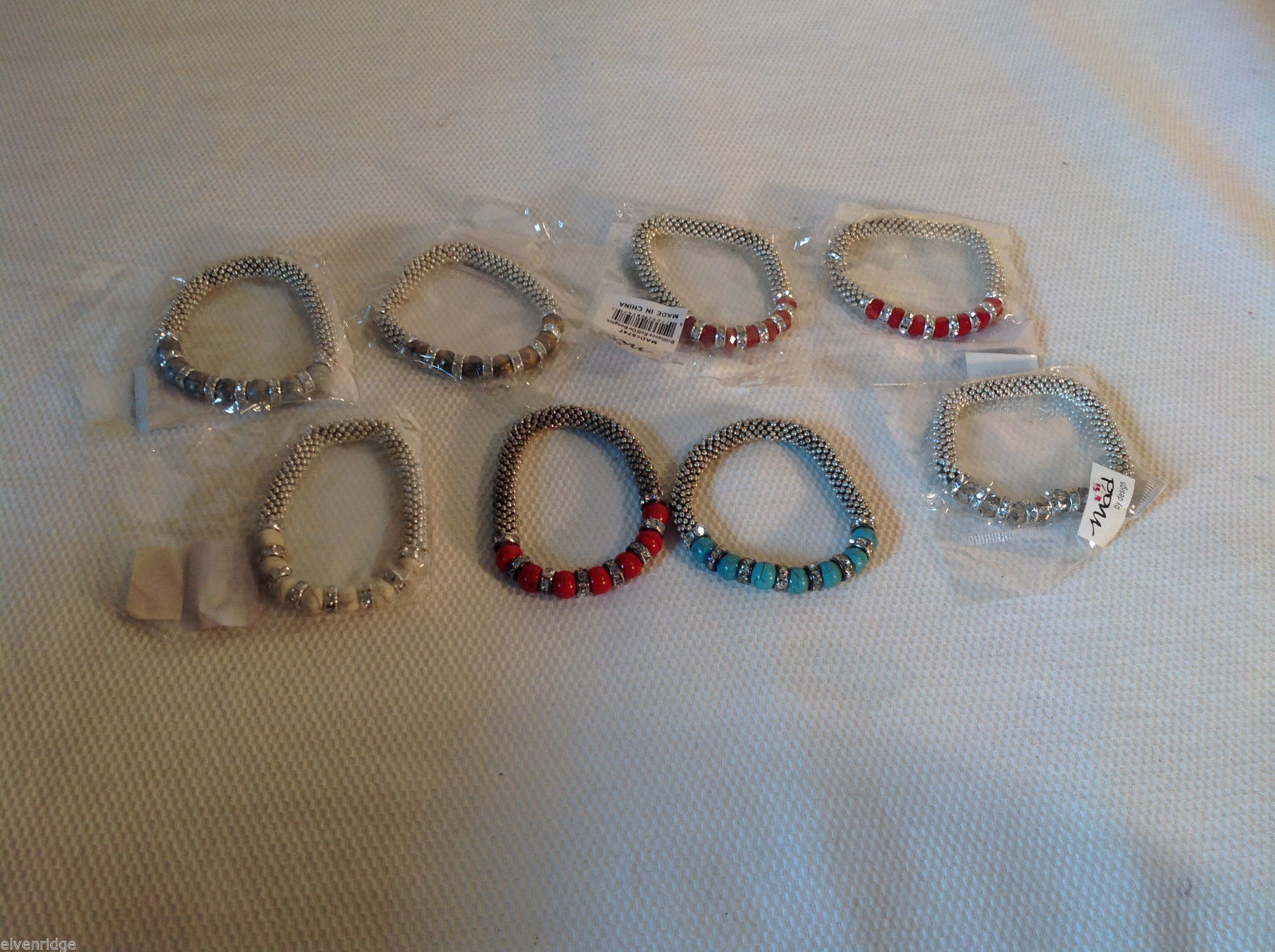 8 pc Mad Style Bracelet Lot - Assorted Stone Colors Stretchy Band