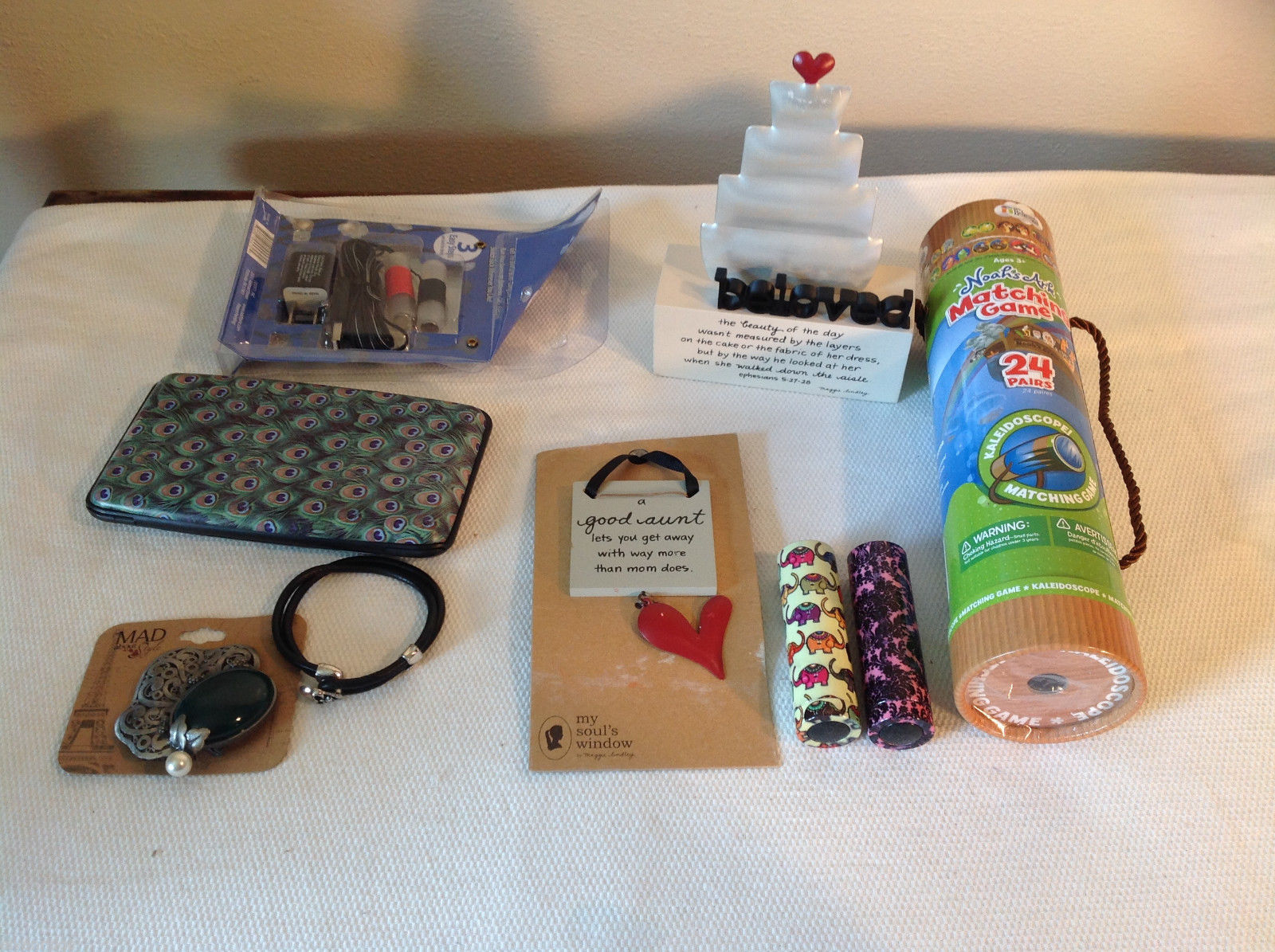 9 pc Assorted Stuff Lot - Matching Game, Led Lights, Wall Plaque, Wallet