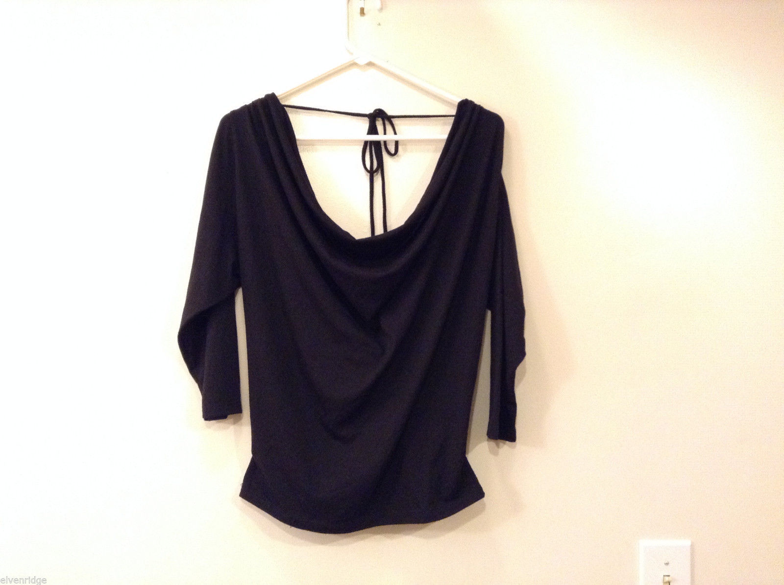 Charlotte Russe Black Deep Slouch Neck V-neck back Sexy Blouse Top, size M