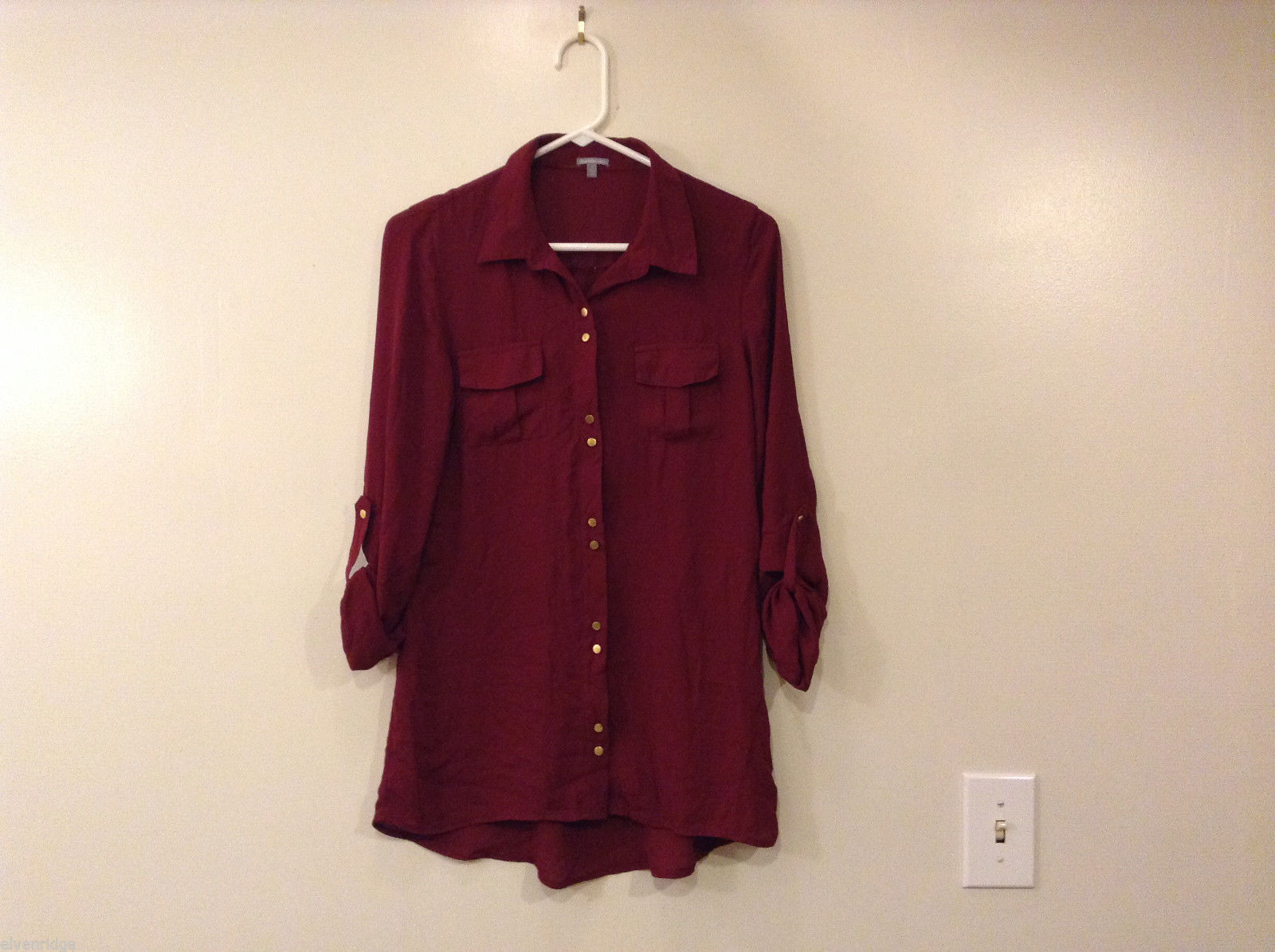 Charlotte Russe Dark Red Wine Maroon Blouse Shirt Top 100% polyester, Size S