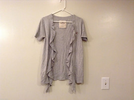 Ladies Hollister Gray Cardigan Front Ruffles Blouse Sweater Top , Size M