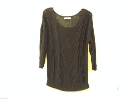Ladies Old Navy Black Knitted Sweater Wide Scoop Neck 3/4 Sleeve size L