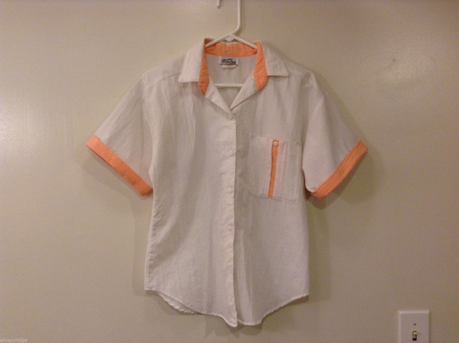 Ladies Le Chute California White Pink 100% Polyester Blouse Shirt Top, Size M