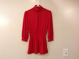 Ladies Candie's Scarlet Red Turtleneck Blouse Top 3/4 Sleeve, Size M, Elastic