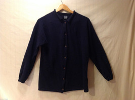 GAP Women's Size M Button-Down Cardigan Sweater Dark Navy Blue Fleece-Like Wool