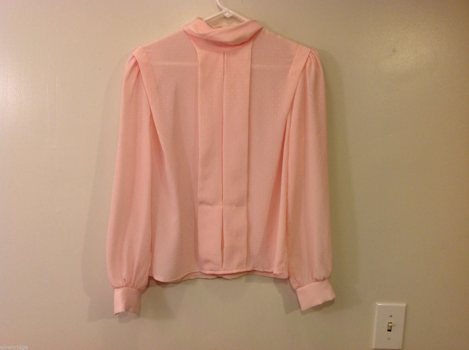 Jonathan Martin Women's Size 6 Cowl Neck Blouse Peach Pink Sheer Plumetis Crepe