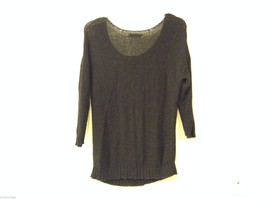 Ladies Old Navy Black Knitted Sweater Wide Scoop Neck 3/4 Sleeve size L image 2