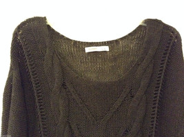 Ladies Old Navy Black Knitted Sweater Wide Scoop Neck 3/4 Sleeve size L image 3
