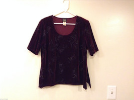 Ladies Teddy Evening Velvet Maroon T-Shirt Blouse Top, Size 14W Sparkling Print