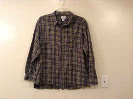 Mens Blue Mountain 100% Cotton Plaid Long Sleeve Shirt, size 2X