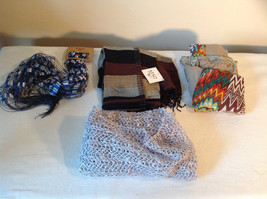 Mad Style 4 pc Fashion Scarf Lot - blue, white, silver, multicolor NWT