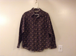 Mens MunsingWear Gray Beige Leaf Pattern 100% Cotton Long Sleeve Shirt, size XL
