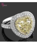 3.57ct Heart Shaped Fancy Yellow Diamond Triple Halo Set Engagement Ring... - $9,126.81