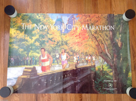 Vintage 1990 New York City Marathon Poster Mercedes-Benz Excellent