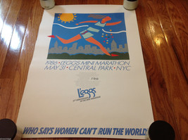 Vintage Leggs Womens Mini Marathon Poster Blue Runner 10K