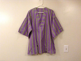 Striped Light Green / Light Violet Deep V-neck Cover Up Blouse Top, No size tag