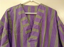 Striped Light Green / Light Violet Deep V-neck Cover Up Blouse Top, No size tag image 3