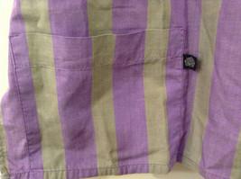 Striped Light Green / Light Violet Deep V-neck Cover Up Blouse Top, No size tag image 5