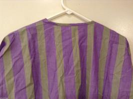 Striped Light Green / Light Violet Deep V-neck Cover Up Blouse Top, No size tag image 6
