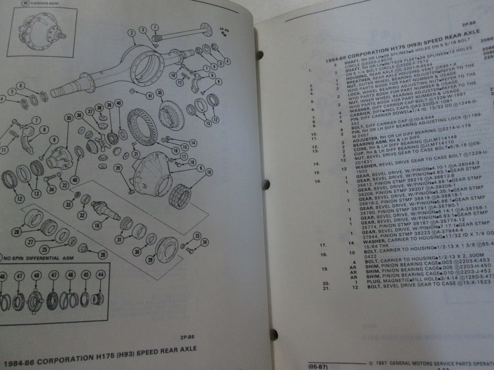 1984 1985 1986 1987 GM TRUCK MEDIUM DUTY REAR AXLE PARTS Catalog Manual OEM Book image 7