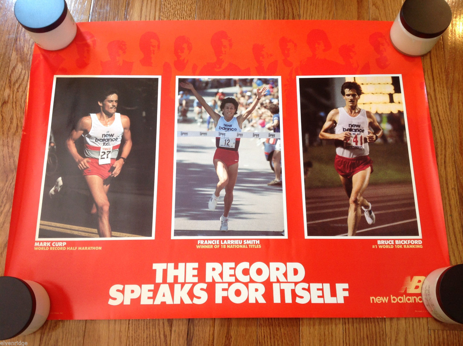 "Vintage Red New Balance Record Runners Poster 1986 Excellent 24""x18"""