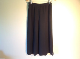 Womens Black Flowing Polyester Cullotes Capri Split Skirt Pull Up Gauchos - $29.69