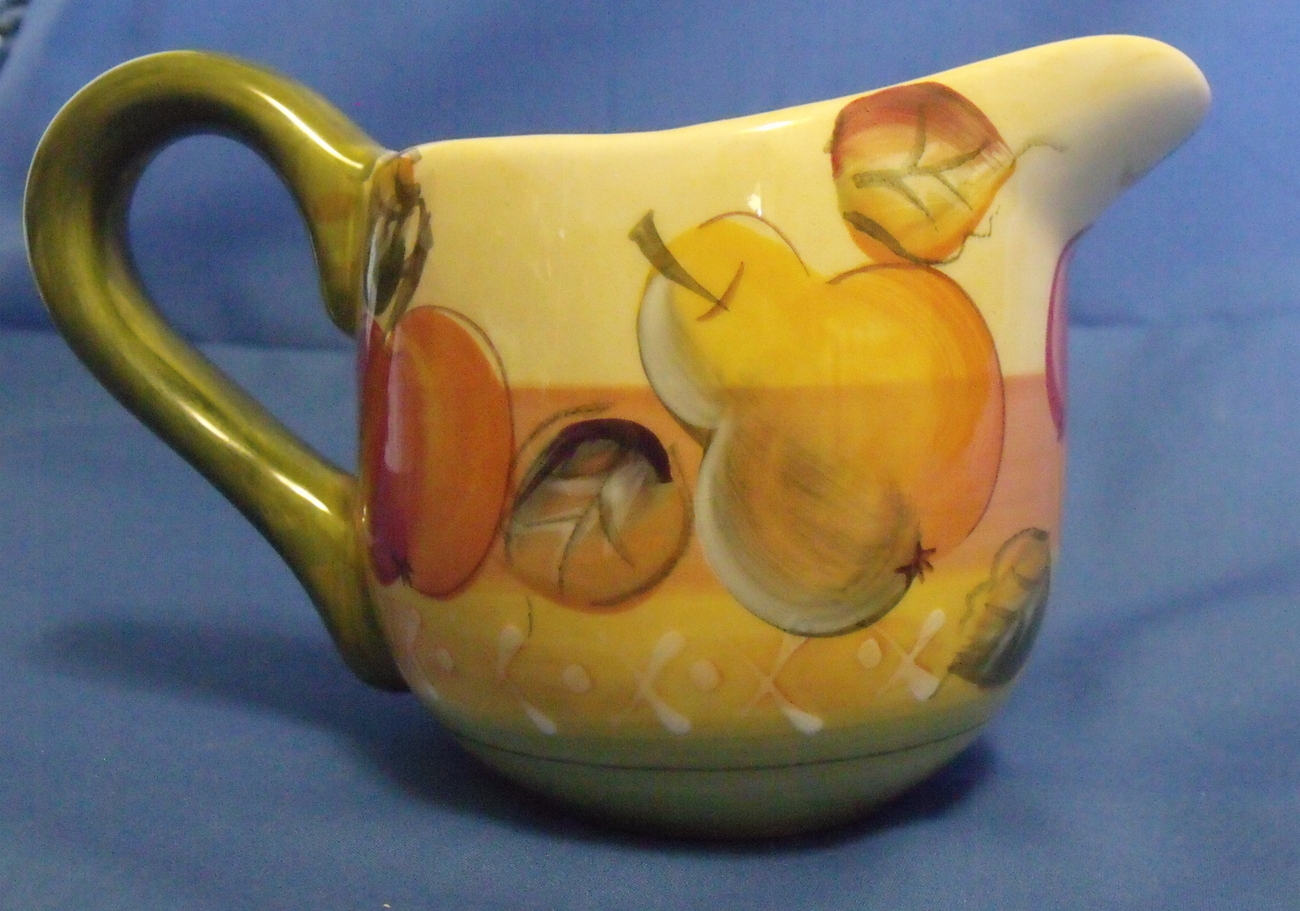 Gibson Handpainted Ceramic Creamer Pitcher Fruit Design