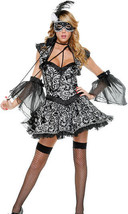 Sexy Forplay Victorian Masked Beauty Masquerade Dress Grey/Black Costume 6pc Set - $72.99
