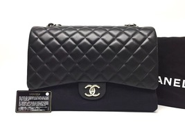 AUTHENTIC CHANEL BLACK QUILTED LAMBSKIN MAXI CLASSIC DOUBLE FLAP BAG GHW image 2