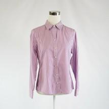 Lavender purple white striped BANANA REPUBLIC button down blouse 10P - $24.99