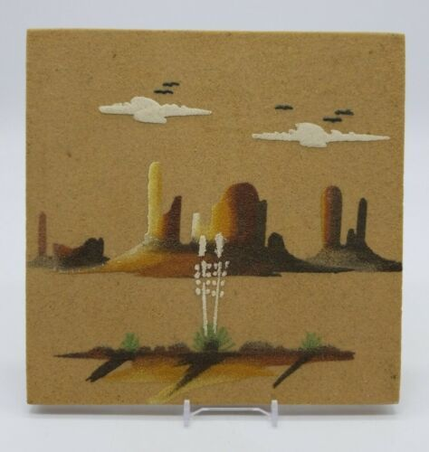 "Primary image for Navajo Sand Painting ""Monument Valley"" Tile Unframed 8x8 Signed Johnson King?"