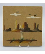 """Navajo Sand Painting """"Monument Valley"""" Tile Unframed 8x8 Signed Johnson ... - $29.58"""