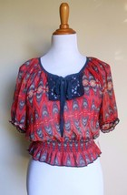 Xhilaration ~ Medium Red Blue Sheer Crochet Bib Smocked Crop Top - $17.80