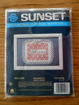 """WELCOME Sunset Counted Cross Stitch Kit NIP 5""""x7"""" #1417 Vtg 1987 - $4.00"""