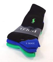 POLO RALPH LAUREN Men's Socks 3 Pairs Blk/Navy/Green 10-13 Cotton Blend ... - $19.95