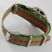 CAPITAL WATCH QUARTZ MOVEMENT 36 MM CASE GREEN AND RED FABRIC BAND NYLON VINTAGE image 2